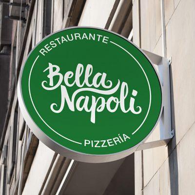 Cartel Pizzería Bella Napoli