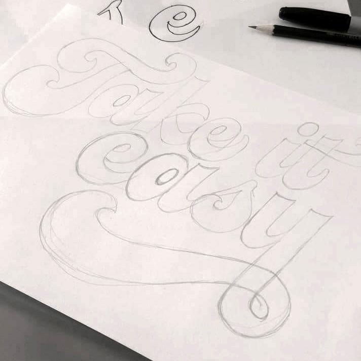 Take it easy lettering sketch