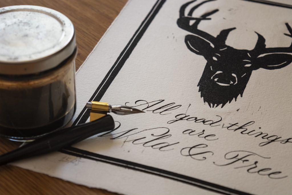 Calligraphy linocut detail