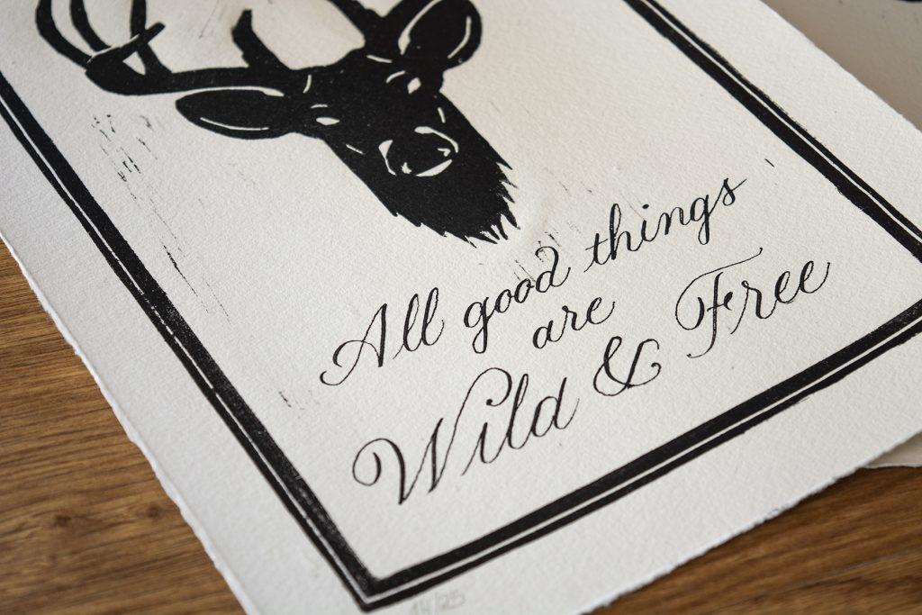 Linocut deer print detail 1